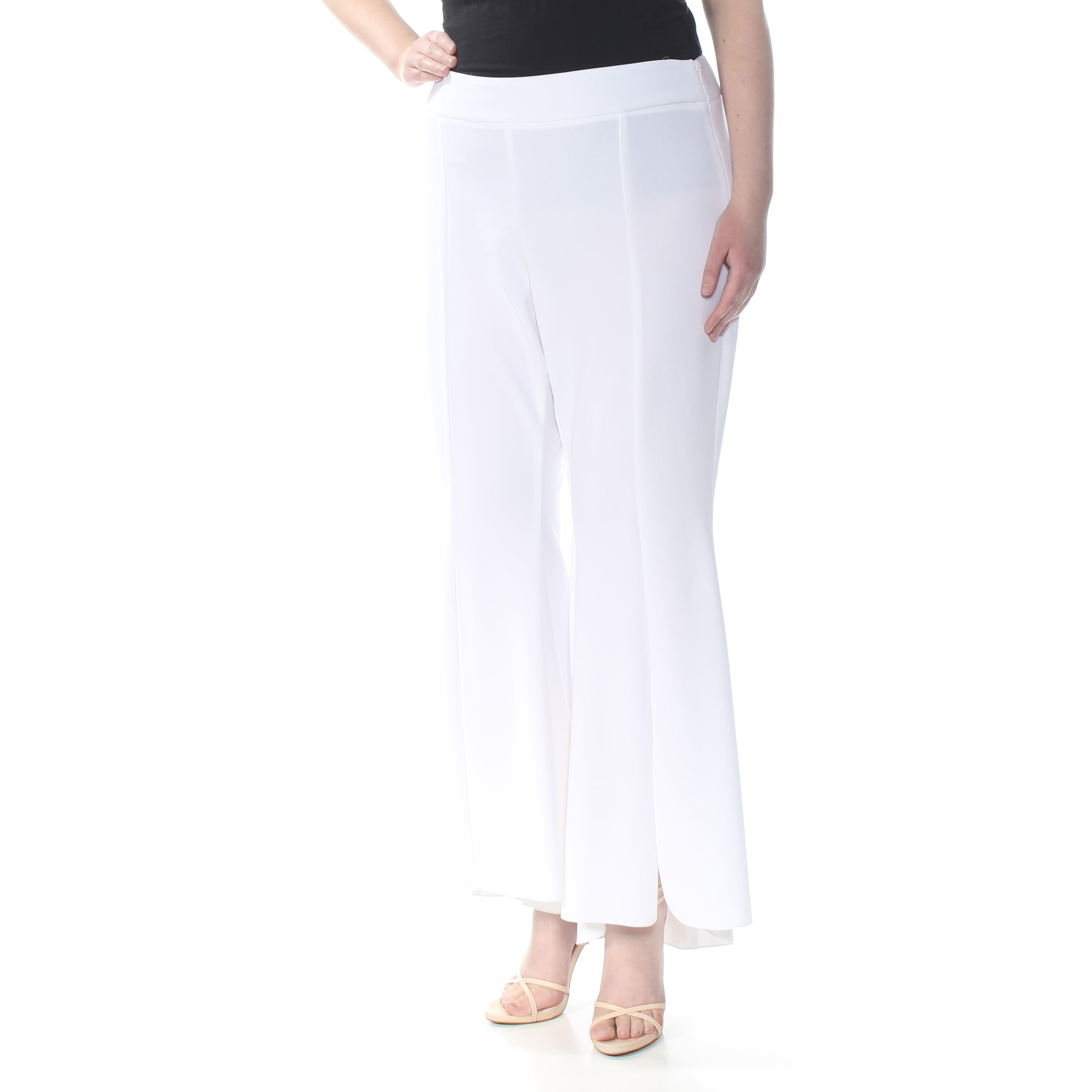 Shop INC Womens White Hi Lo Flare Wear To Work Pants Plus Size: 14W ...