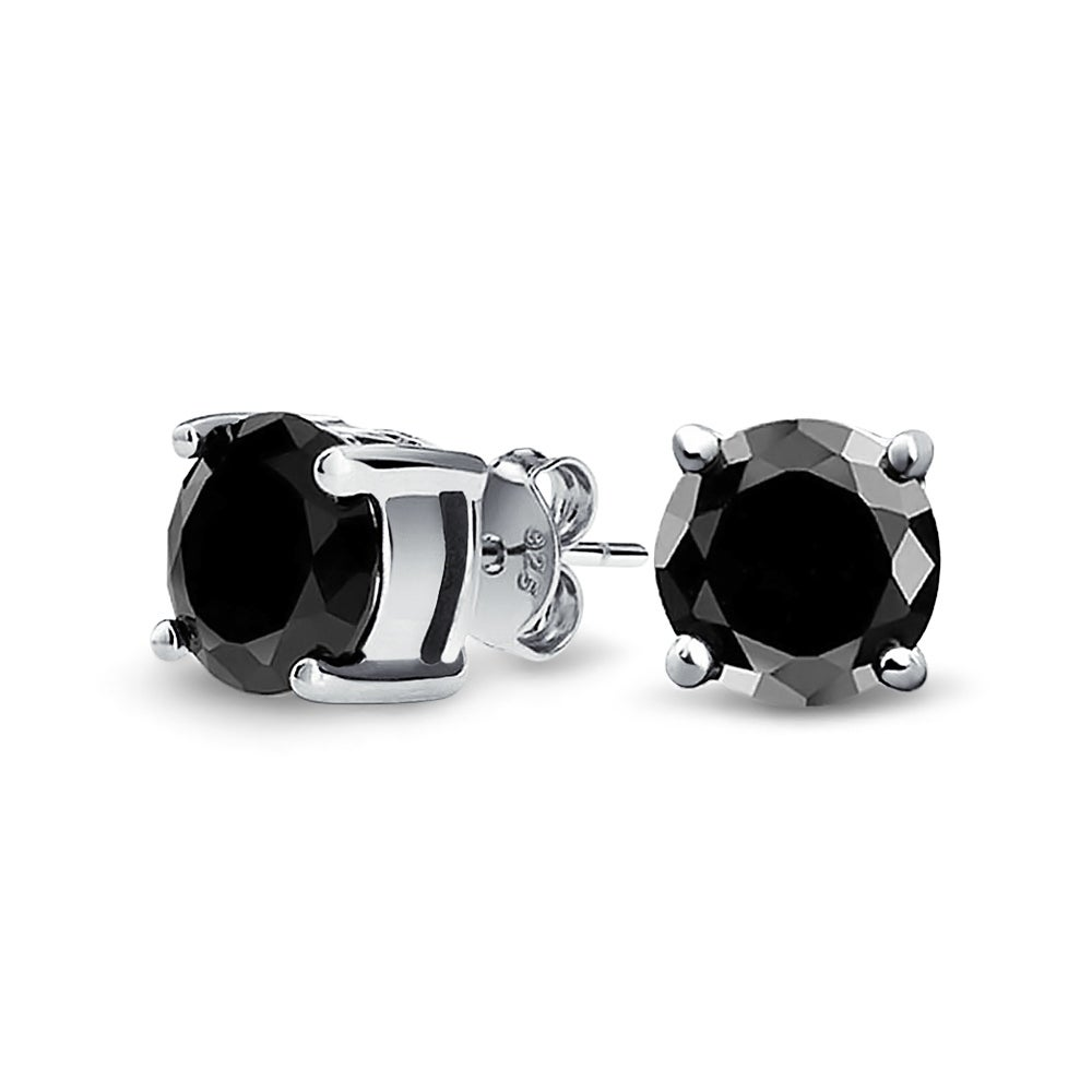 291299b16 Shop Bling Jewelry Unisex Round Black CZ Stud earrings 925 Sterling Silver  8mm - On Sale - Free Shipping On Orders Over $45 - Overstock.com - 18037623