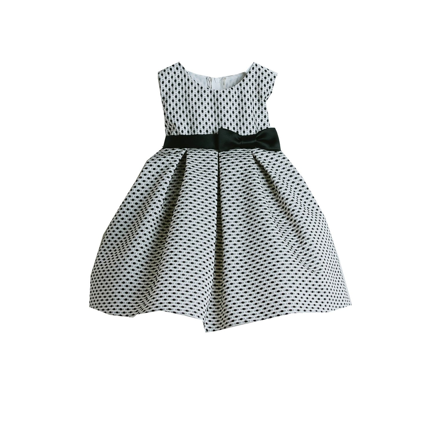 Shop Sweet Kids Baby Girls Black Petite Polka Dot Pleated Flower