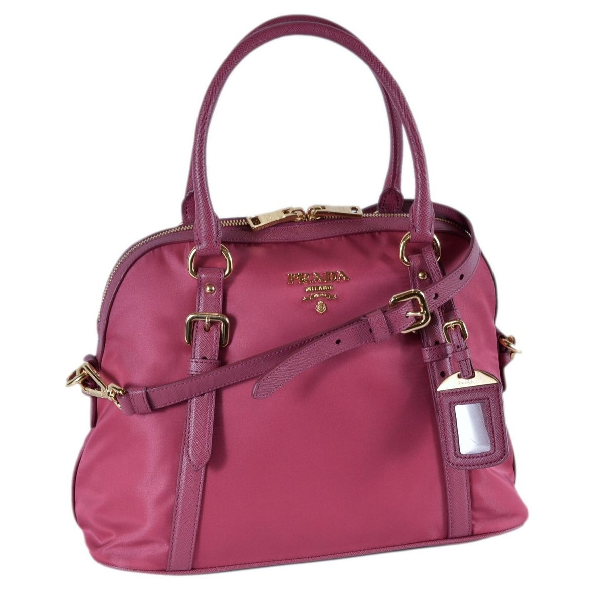 b8ad3b5f320d 123456789101112 250fe 9bc6f; spain shop prada 1bb013 tessuto ibisco pink  nylon bauletto satchel purse w strap on sale free
