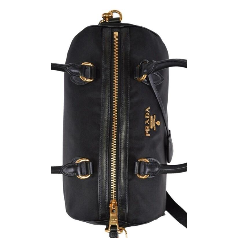 0a63baeed2e9 Shop Prada 1BB797 Black Nylon and Leather Tessuto Bauletto Satchel Purse W/ Strap - Free Shipping Today - Overstock - 27403263