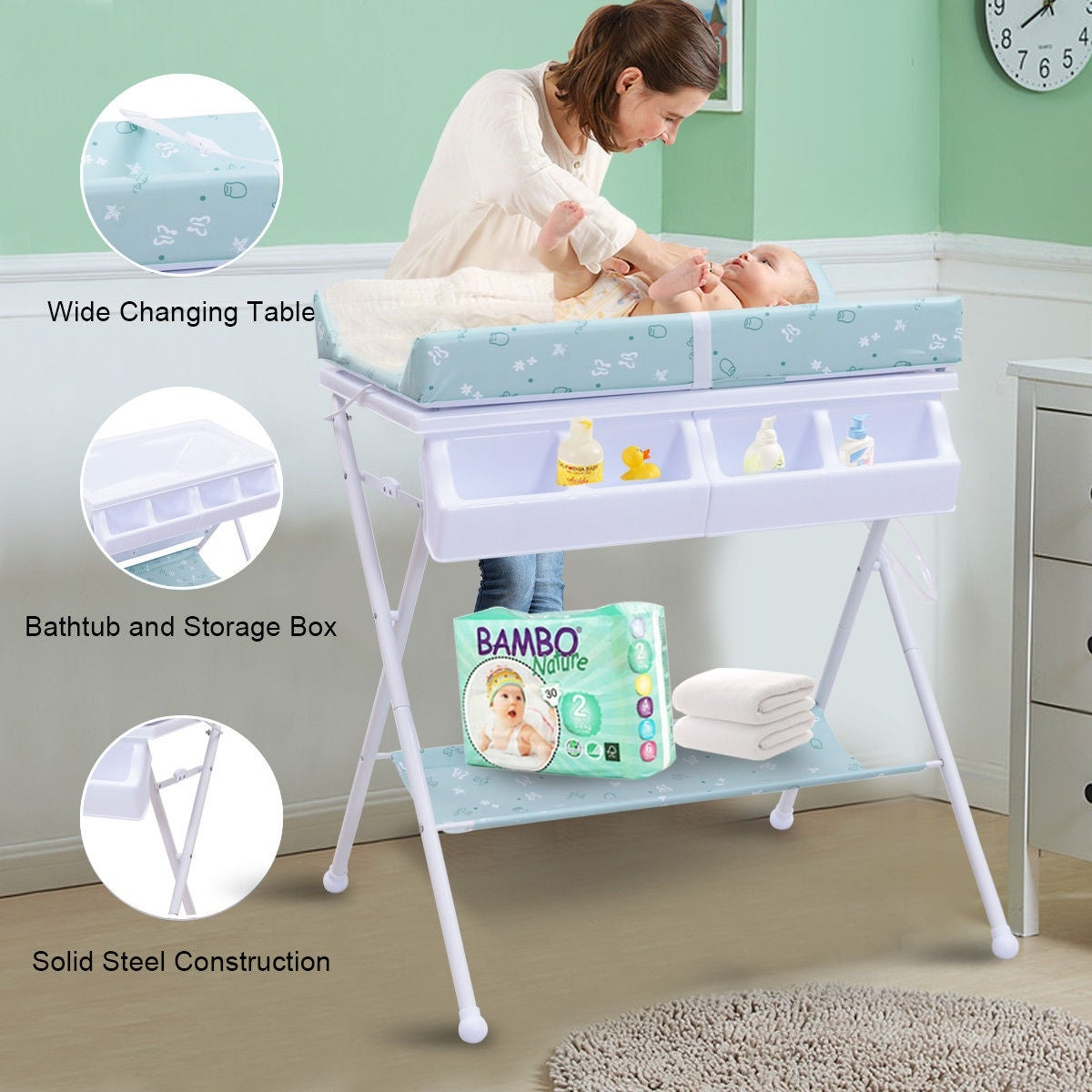 Charmant Shop Costway Infant Baby Bath Changing Table Diaper Station Nursery  Organizer Storage W Tube   Blue   Free Shipping Today   Overstock.com    18962713