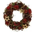 "10"" Country Rustic Artificial Floral and Berry Wreath with Stars - Unlit"