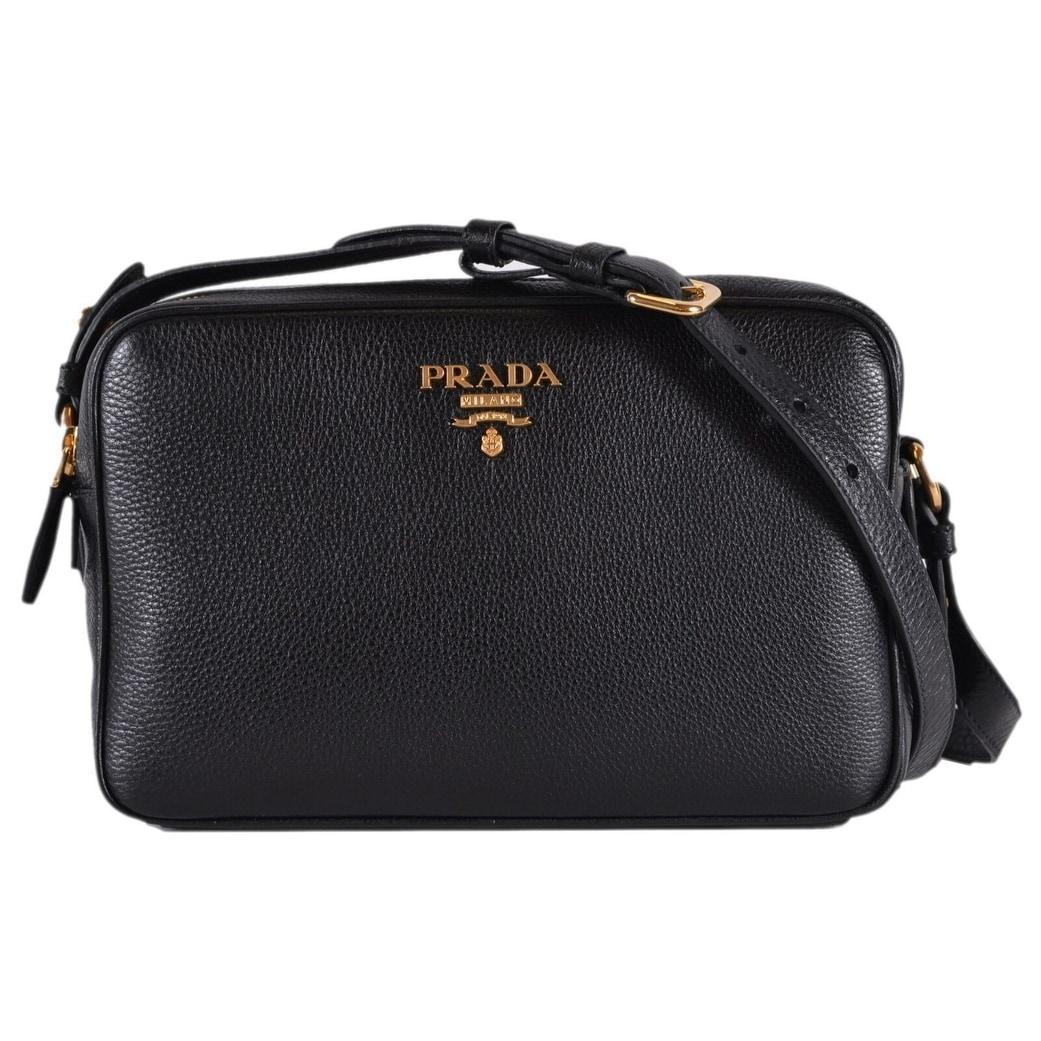 55fe095d01 Prada 1BH079 Black Vitello Phenix Leather Bandoliera Double Zip Purse Bag