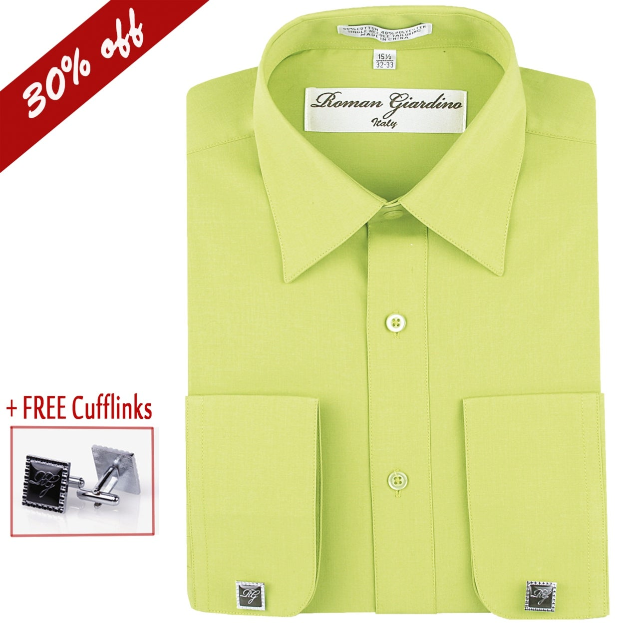 Shop Roman Giardino Mens Dress Shirt Long Sleeve Convertible Cuffs