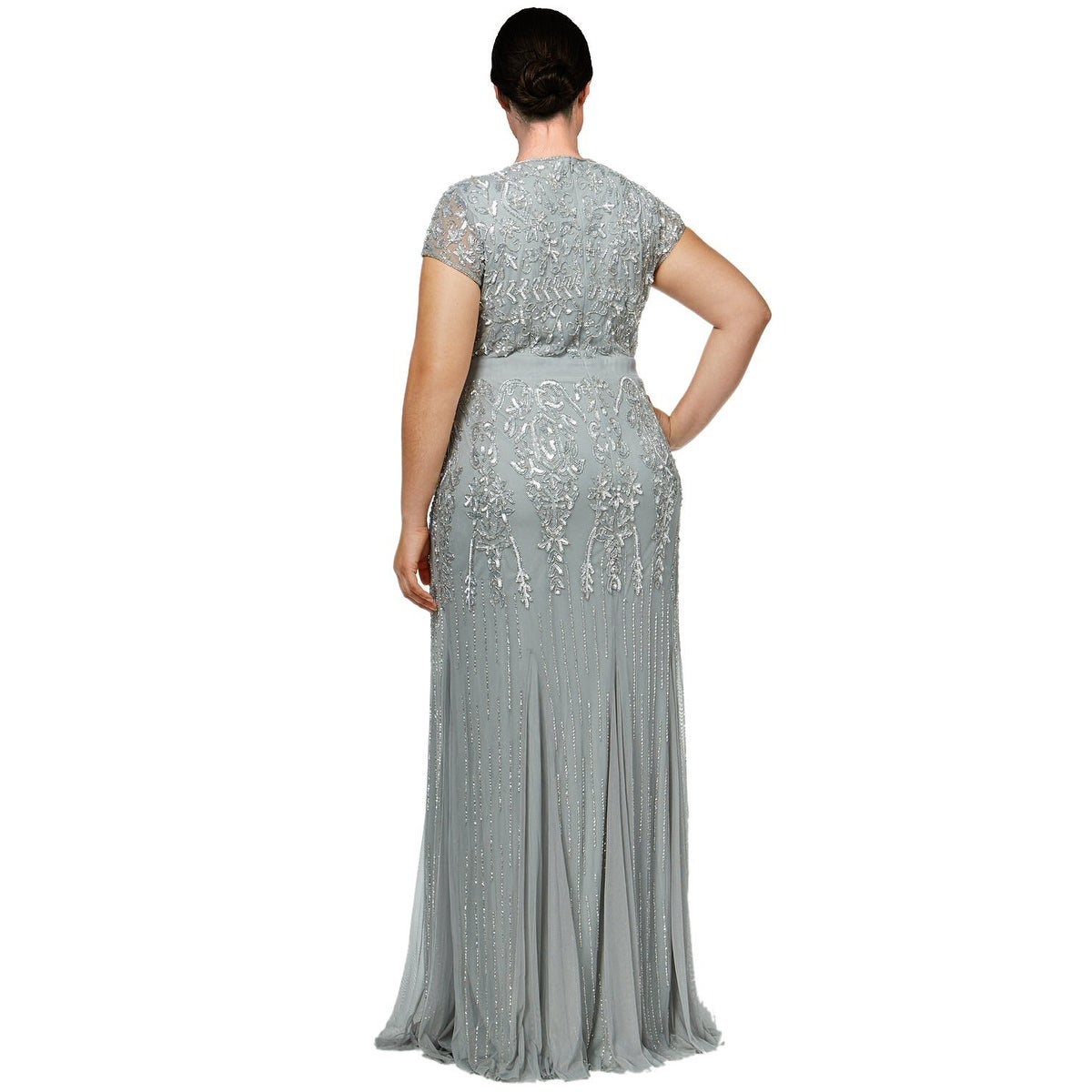 Shop Adrianna Papell Plus Size Beaded V-Neck Evening Gown Dress Mist ...