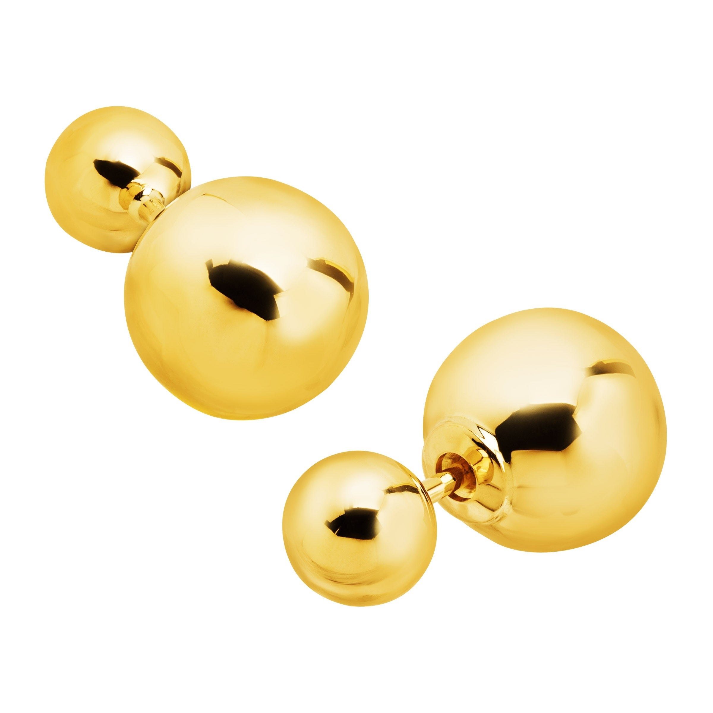 425f1eec8 Eternity Gold Polished Double Ball Front-Back Stud Earrings in 14K Gold -  Yellow