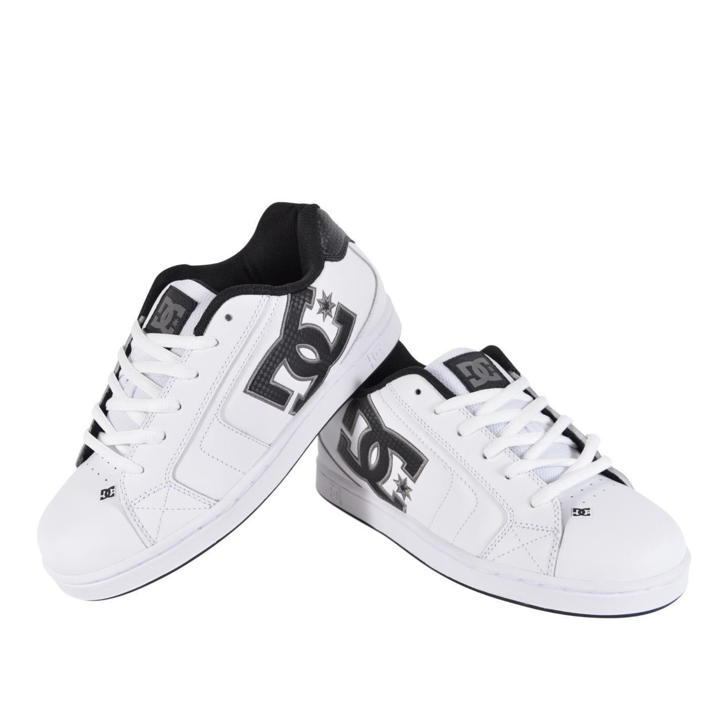 cde4d64c009bff DC Shoes Men s White Leather NET 302361 Skateboard Sneakers Tennis Shoes. by  DC Shoes
