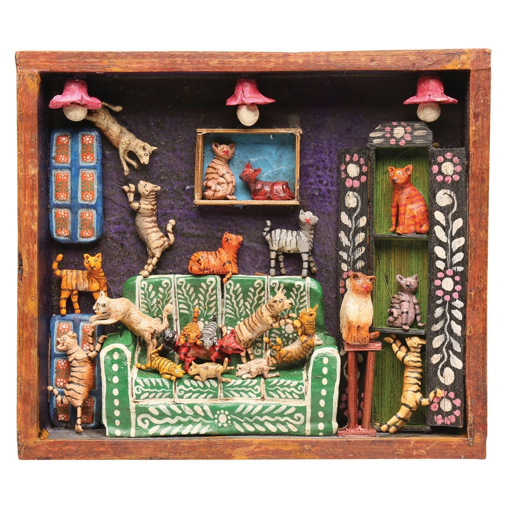 Retablo Frame House Of Cats Handcrafted Wooden Wall Art Sculpture 9 In X 8 In X 1 5 In