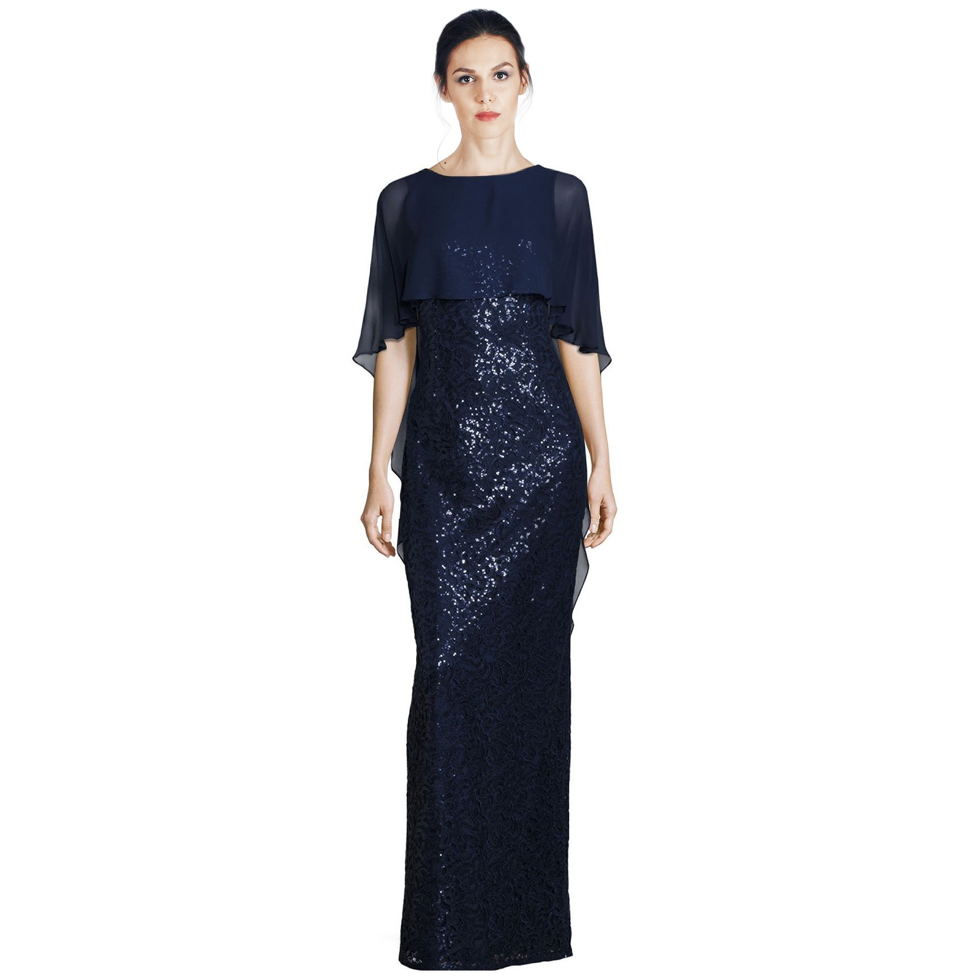 Shop Teri Jon Sequined Cape Overlay Column Evening Gown Dress Navy ...
