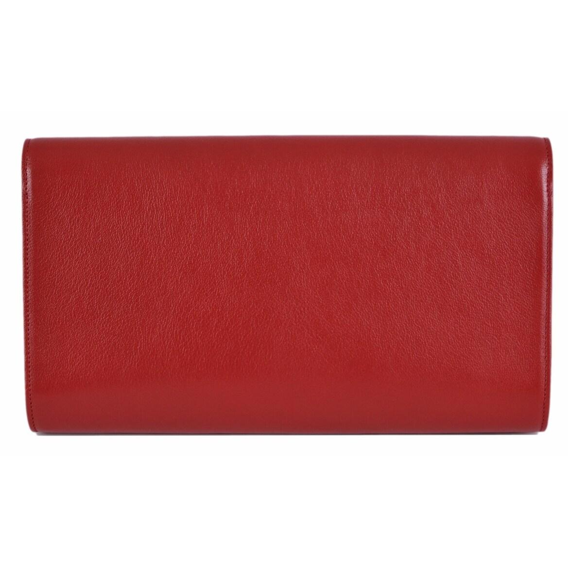 f0597437f05 Shop Saint Laurent YSL 361120 Red Leather Large Belle de Jour Clutch  Handbag Bag - 11