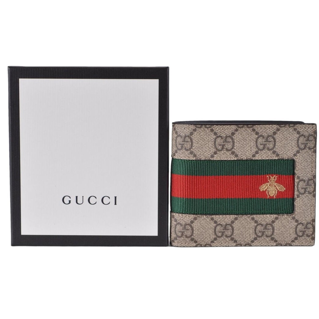 7e743ba99fda Shop Gucci Men's Beige GG Supreme Canvas Red Green Web BEE Bifold Wallet - 4.5  x 3.5 - Free Shipping Today - Overstock - 25659982