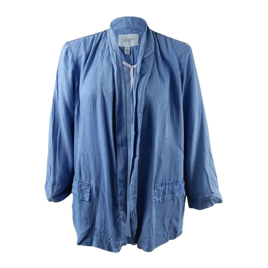 06092cfcb21 Shop Jessica Simpson Women s Trendy Plus Size Chambray Blazer - Rainy Day -  2X - Free Shipping Today - Overstock.com - 20697678