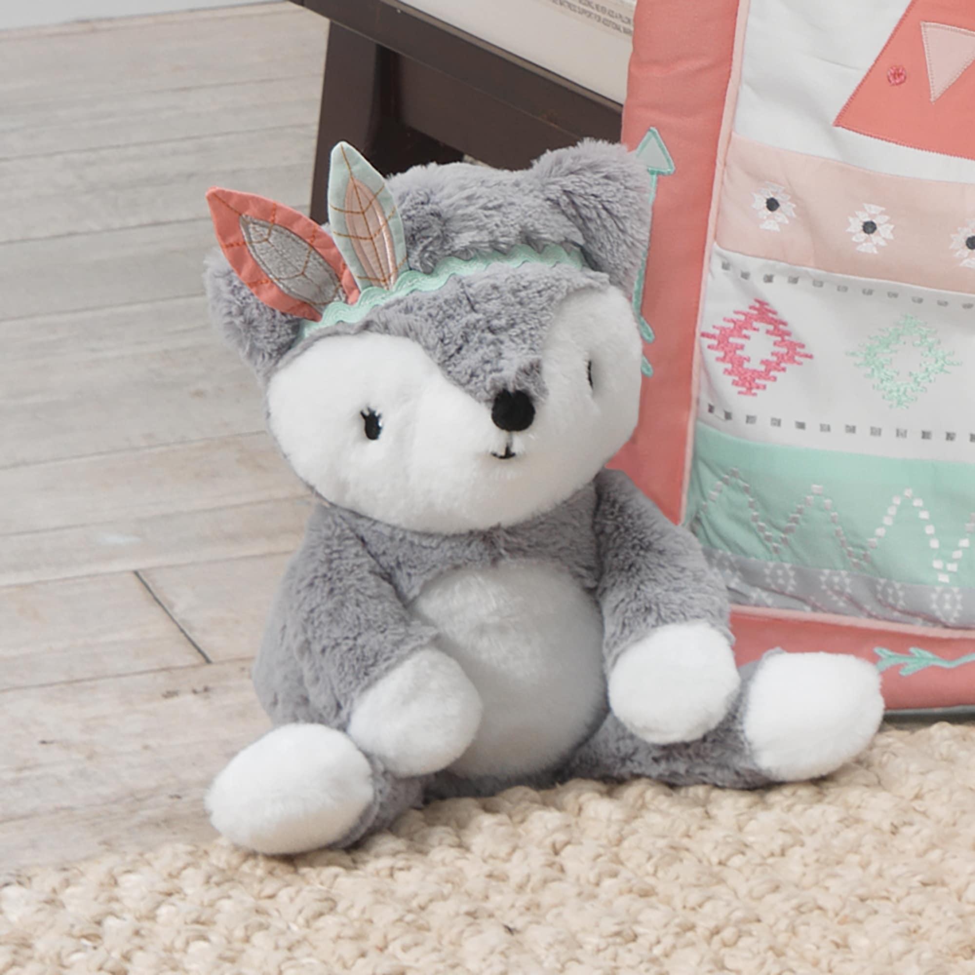 Shop Lambs Ivy Little Spirit Gray White Plush Fox Stuffed Animal