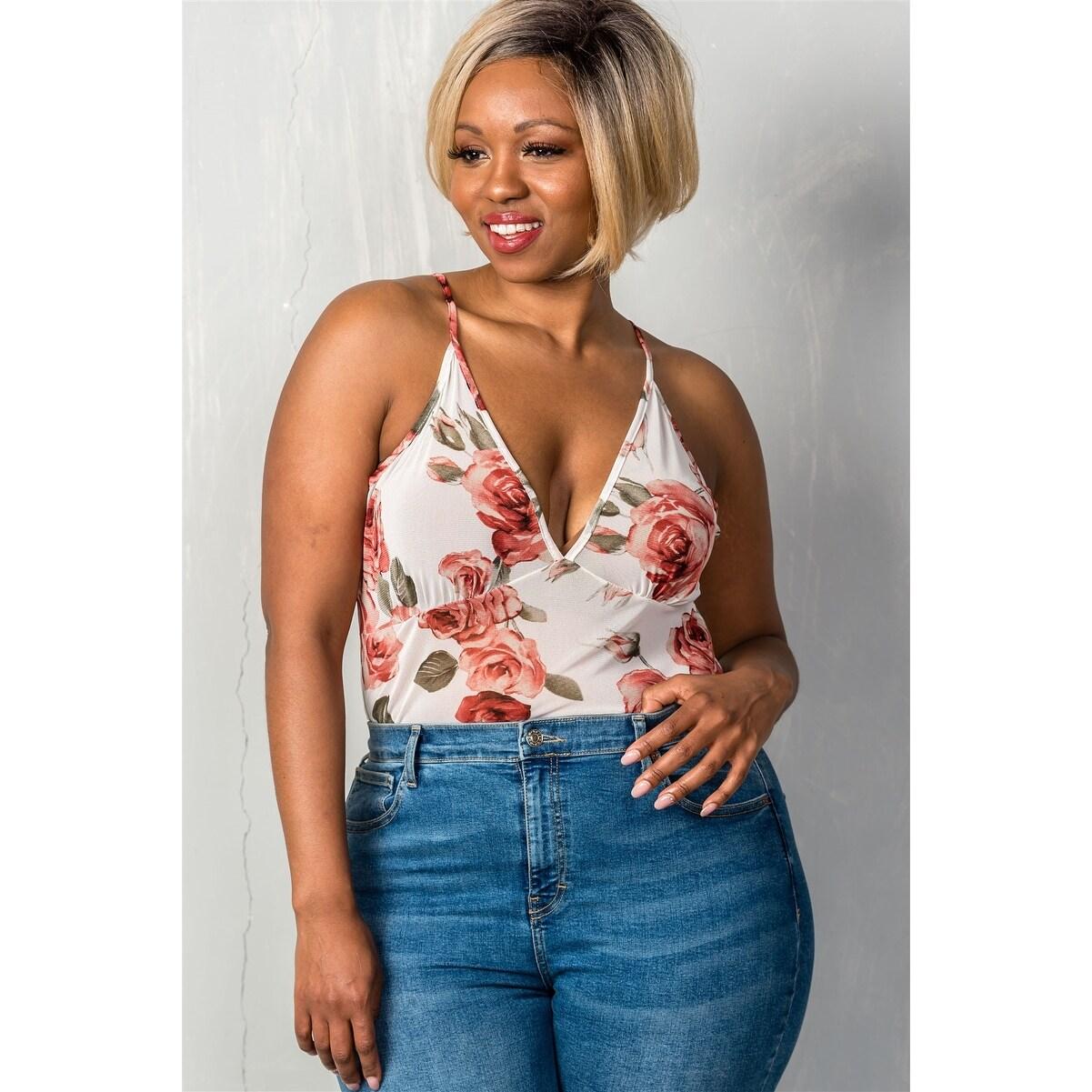 cc184e65f043 Ladies Fashion Plus Size V Neckline Cream   Floral Sheer Mesh Sleeveless  Plus Size Bodysuit - Size - 3Xl