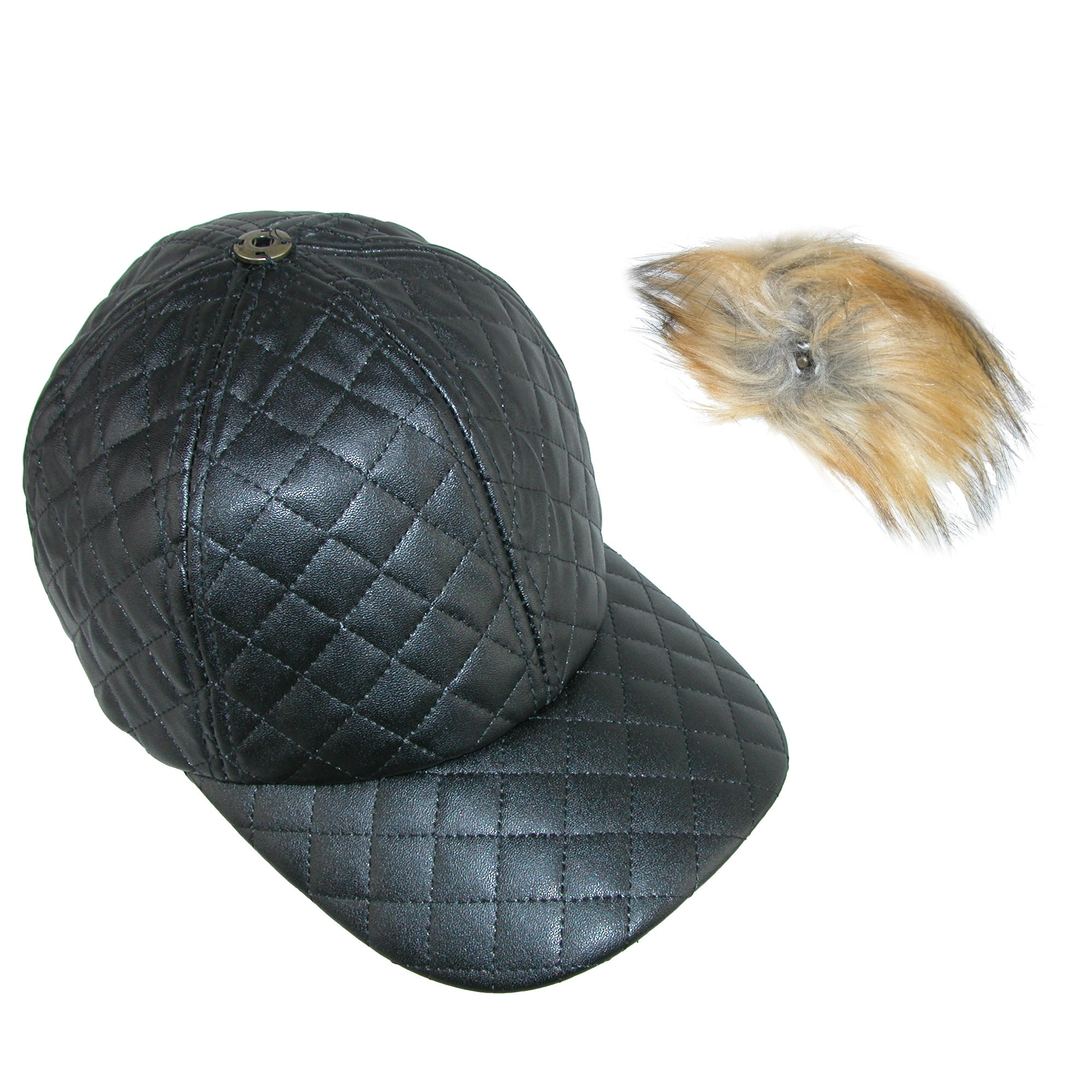 d9745cdb31d Shop Pia Rossini Women s Quilted PU Cap with Faux Fur Detachable Pom Pom -  Free Shipping On Orders Over  45 - Overstock - 18059761