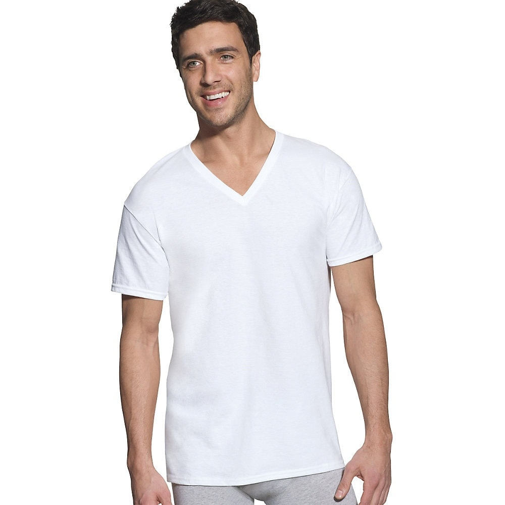 3da16b565349 Shop Hanes Classic Mens White V-Neck T-Shirt P6 - Size - XL - Color - White  - Free Shipping On Orders Over $45 - Overstock - 13859105