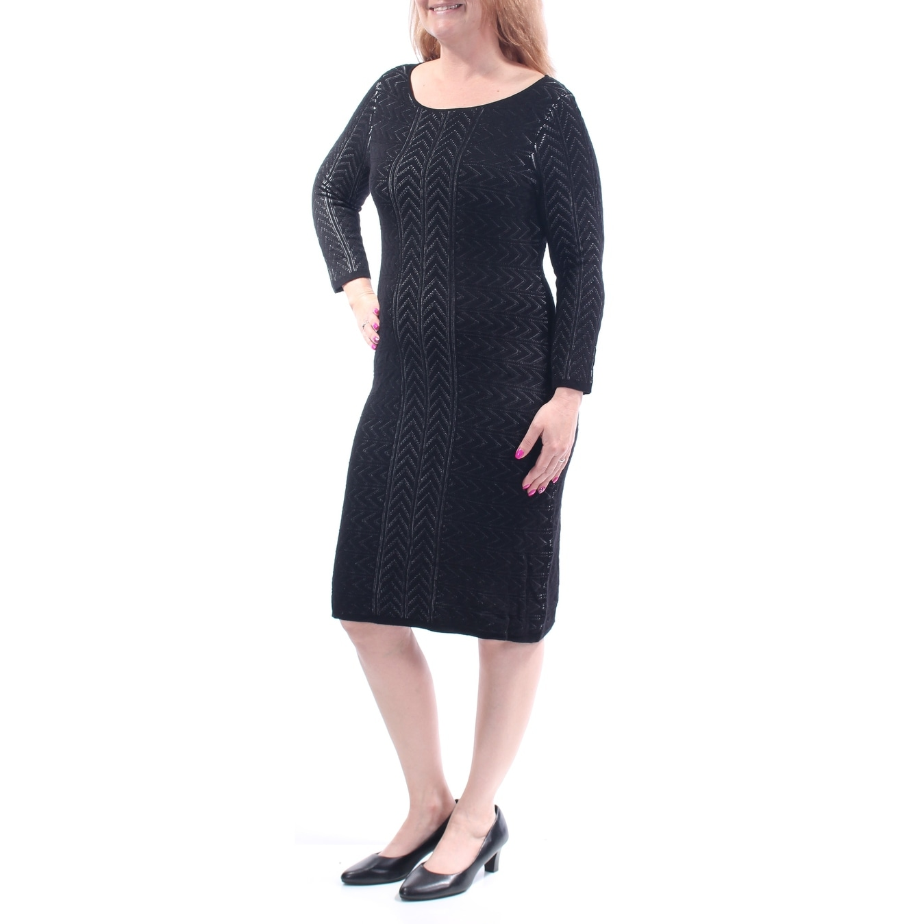 adf4fb85 Shop Womens Black Long Sleeve Knee Length Sheath Dress Size: L - On Sale -  Free Shipping On Orders Over $45 - Overstock.com - 23450974