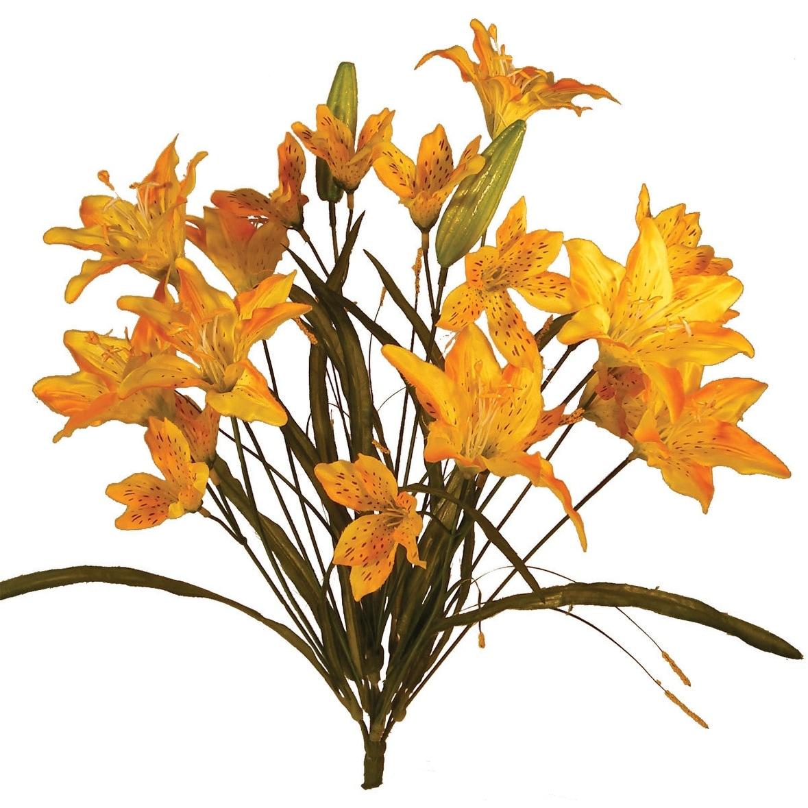 1 pc 21 inch artificial tiger lily bush w12 blooms for seasonal 1 pc 21 inch artificial tiger lily bush w12 blooms for seasonal home decor golden yellow free shipping on orders over 45 overstock 24846650 izmirmasajfo
