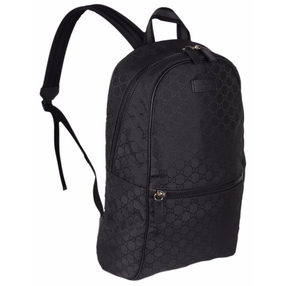 4c0bedf9f68 Gucci 449181 Black Nylon GG Guccissima Slim Backpack Rucksack Travel Bag