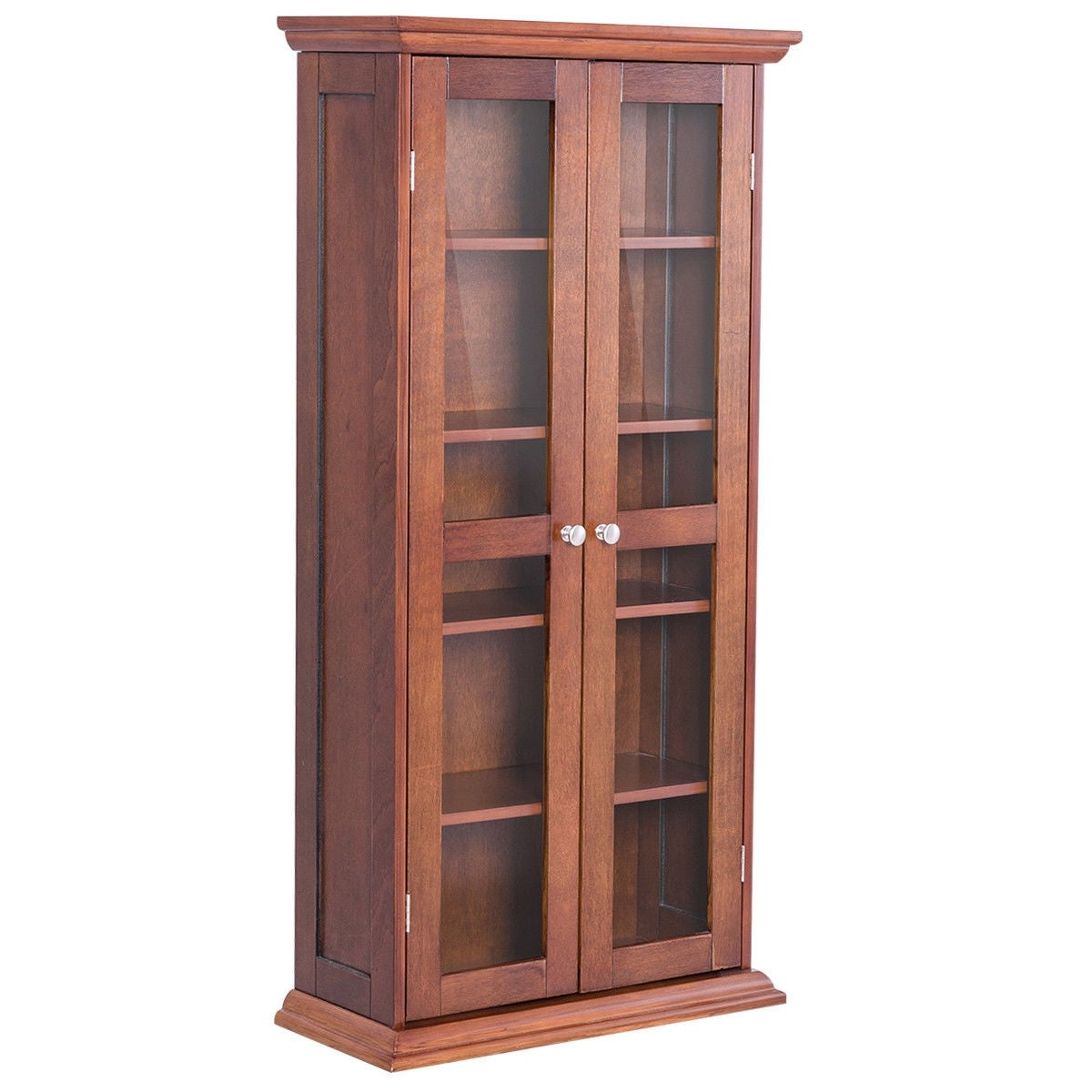 Shop Costway 445 Wood Media Storage Cabinet Cd Dvd Shelves Tower