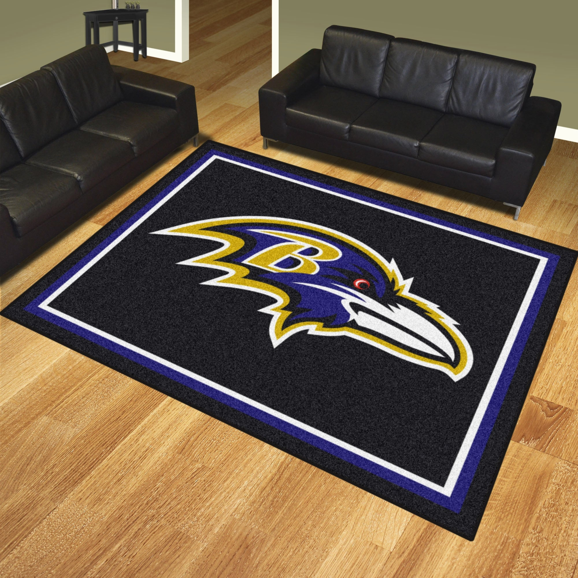 c4bf46c9 NFL Baltimore Ravens 8 x 10 Foot Plush Non-Skid Area Rug