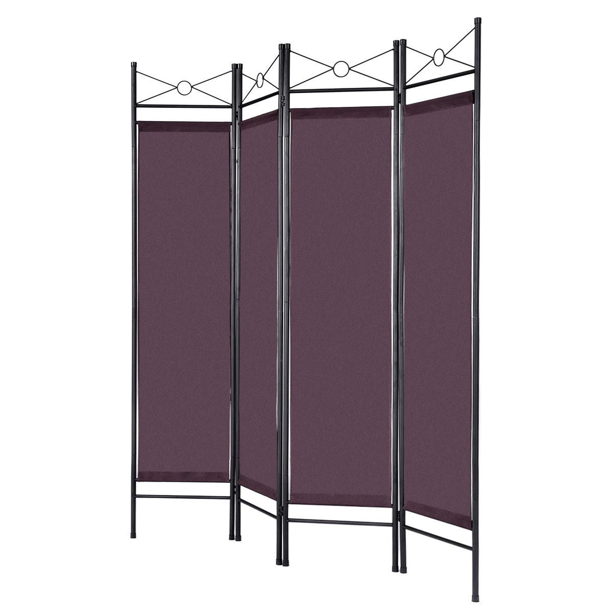 Shop Costway Brown 4 Panel Room Divider Privacy Screen Home Office Fabric  Metal Frame   Free Shipping Today   Overstock.com   16120471