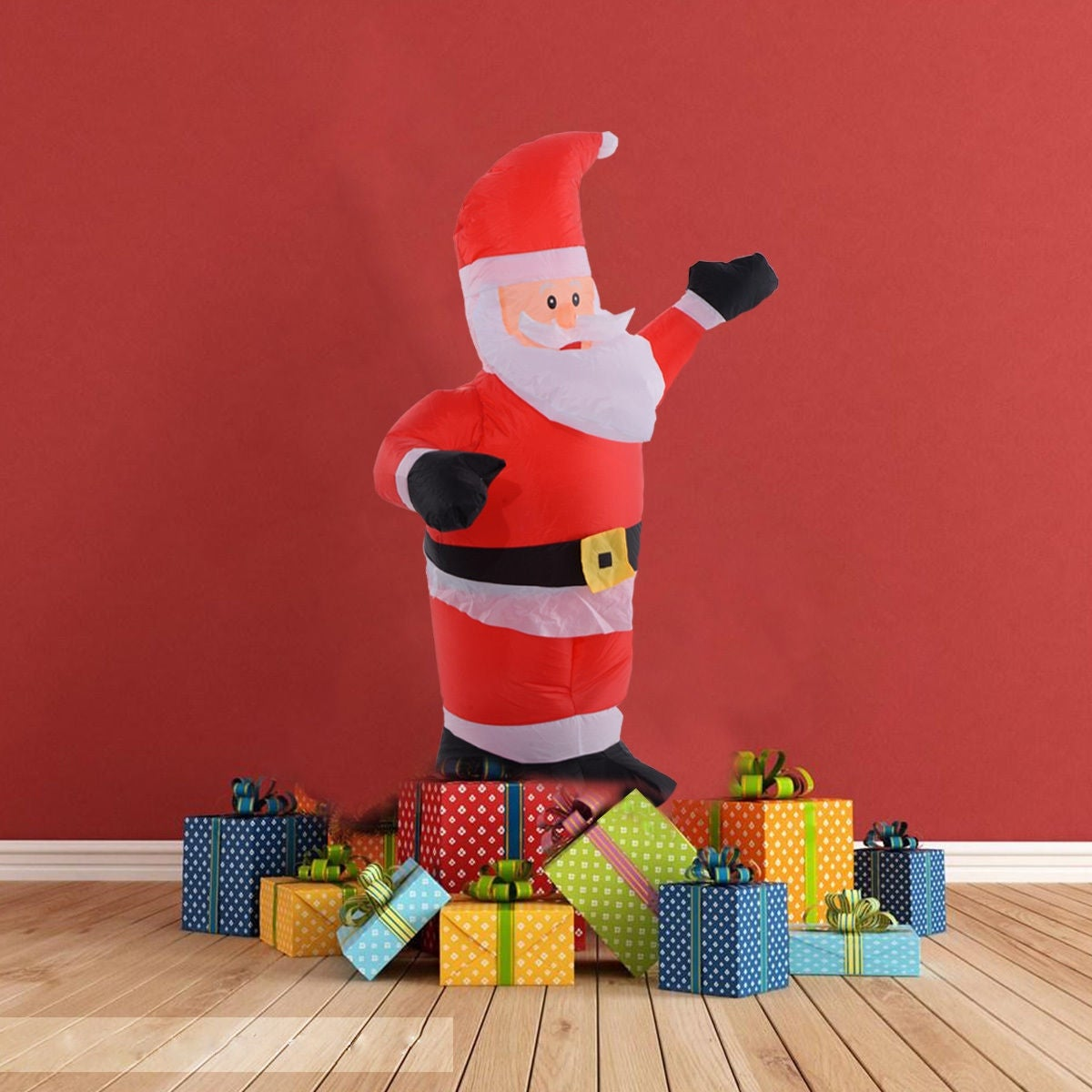 Shop Costway 4Ft Airblown Inflatable Christmas Santa Claus Lighted ...