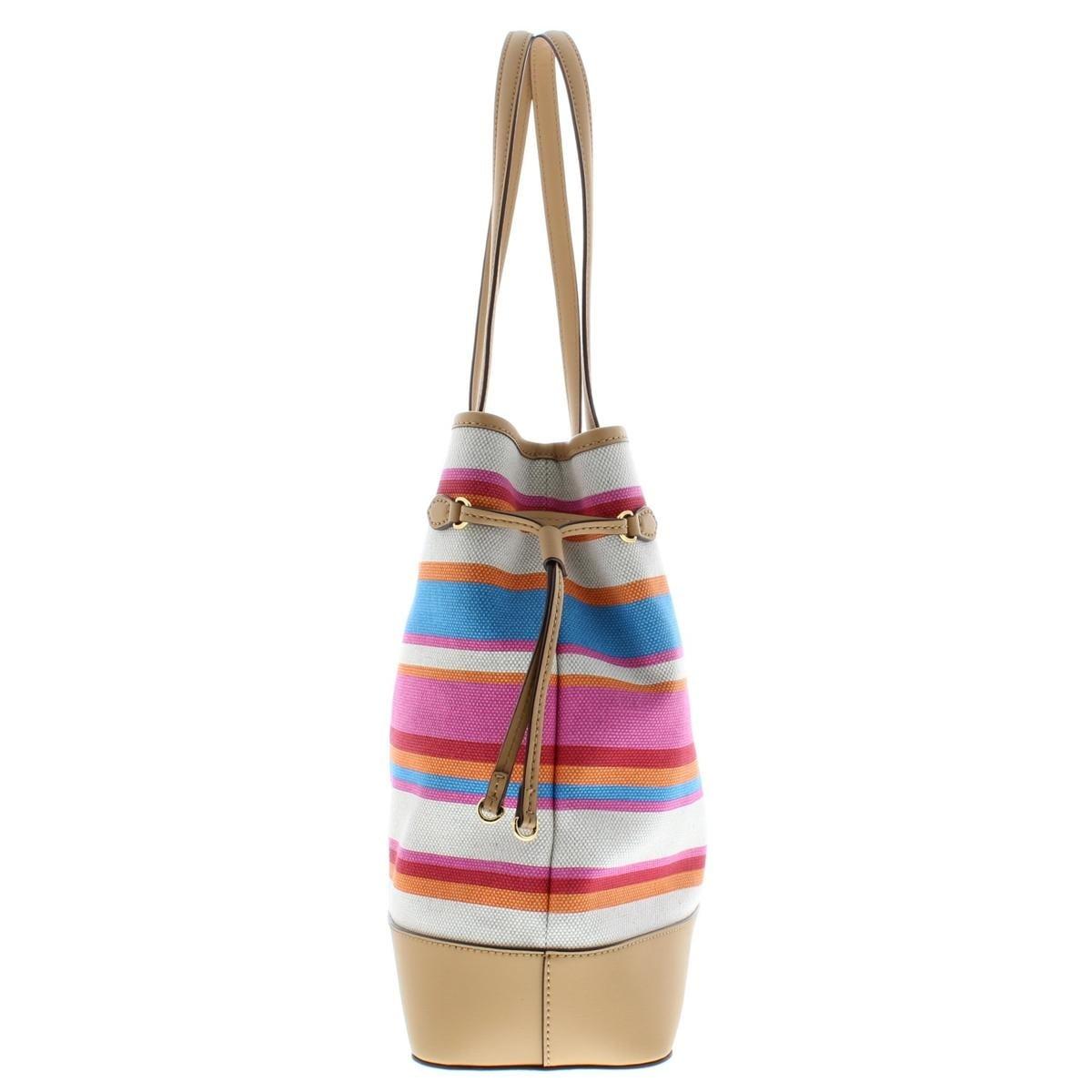 f982daf40 Shop Lauren Ralph Lauren Womens Piedmont Adalyn Tote Handbag Striped Canvas  - Large - Free Shipping On Orders Over $45 - Overstock - 22695662