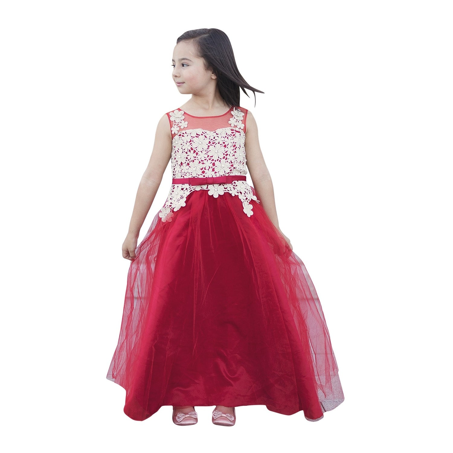 beb1c4dac Shop Girls Red Gold Floral Lace Floor Length Fiona Junior Bridesmaid Dress  - Ships To Canada - Overstock - 23077926