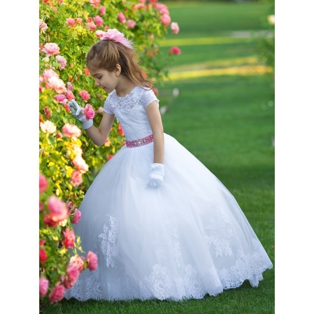 Shop Girls White Pink Crystal Bead Train Sonya Ball Gown Flower Girl