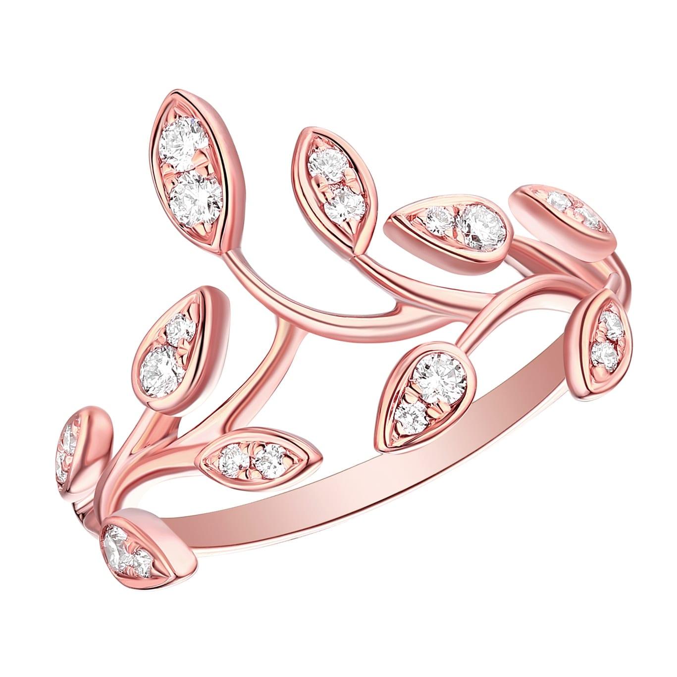 Shop Prism Jewel 0.26Ct Round G-H/I1 Natural Diamond Olive Leaf Ring ...