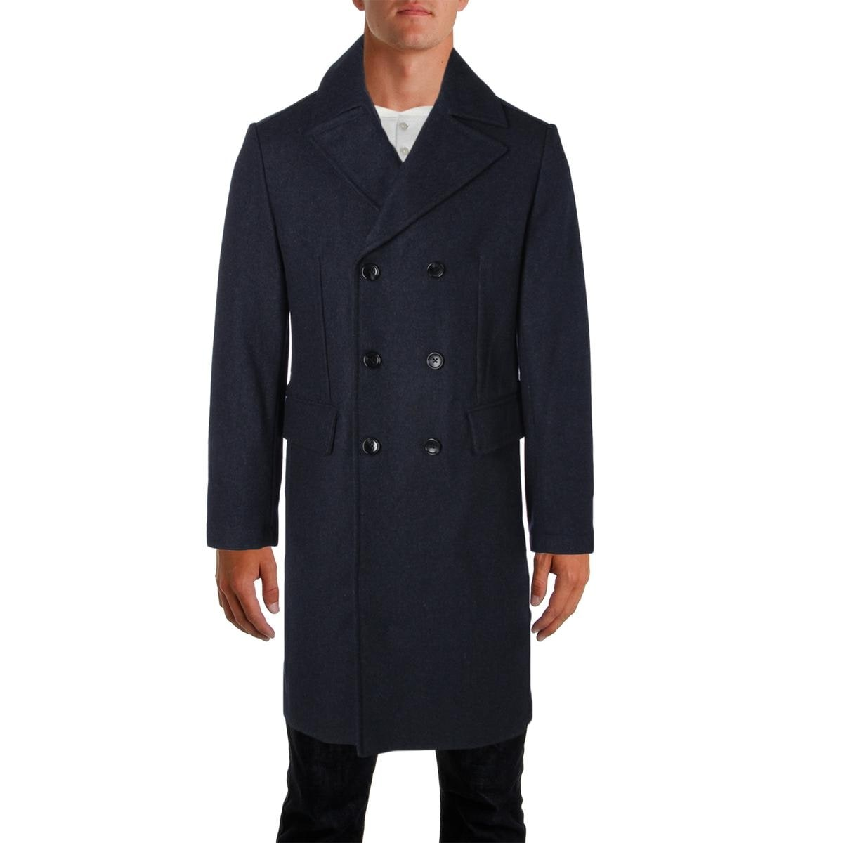 b6150d82959 Shop MICHAEL Michael Kors Mens Pea Coat Wool Double Breasted - Free  Shipping Today - Overstock - 18390386