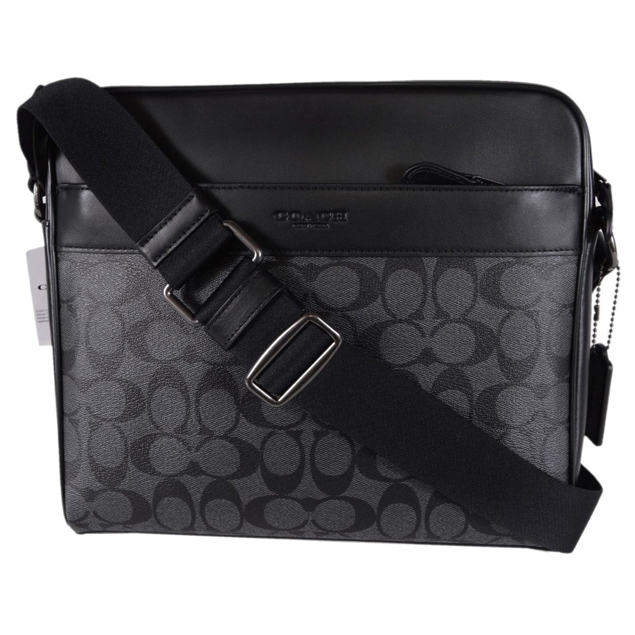 """Shop Coach Men's F28456 Grey Black Coated Canvas Signature Camera Messenger  Bag - 11"""" x 10"""" x 2.25"""" - On Sale - Free Shipping Today - Overstock.com -  ..."""