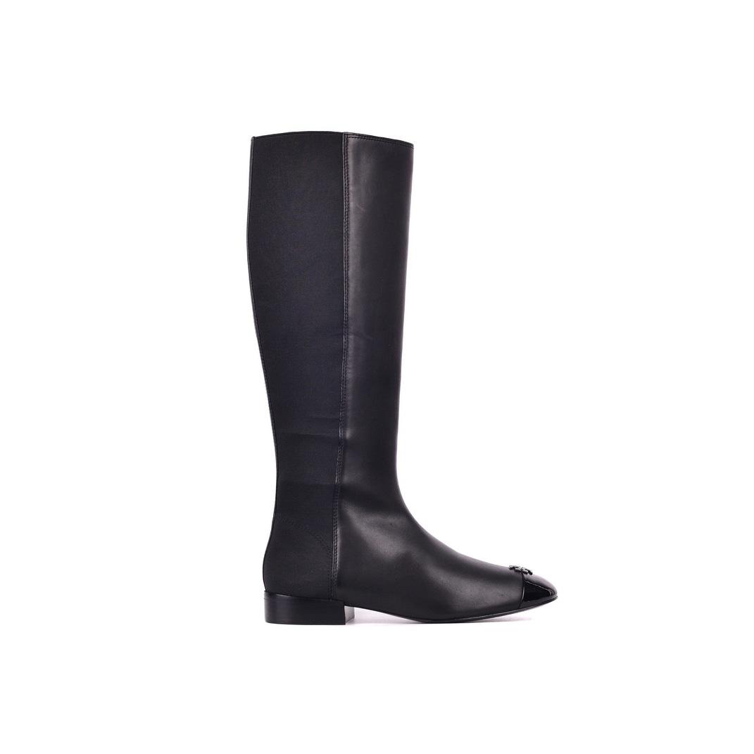 3c4deb598b3ff7 Shop Tory Burch Women s Black Patent Leather Jolie Stretch Boots ...