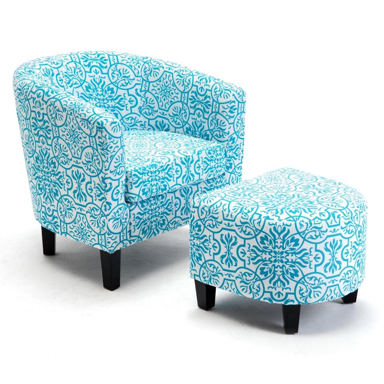 Shop Belleze Accent Tub Chair Curved Back French Print Script Linen ...