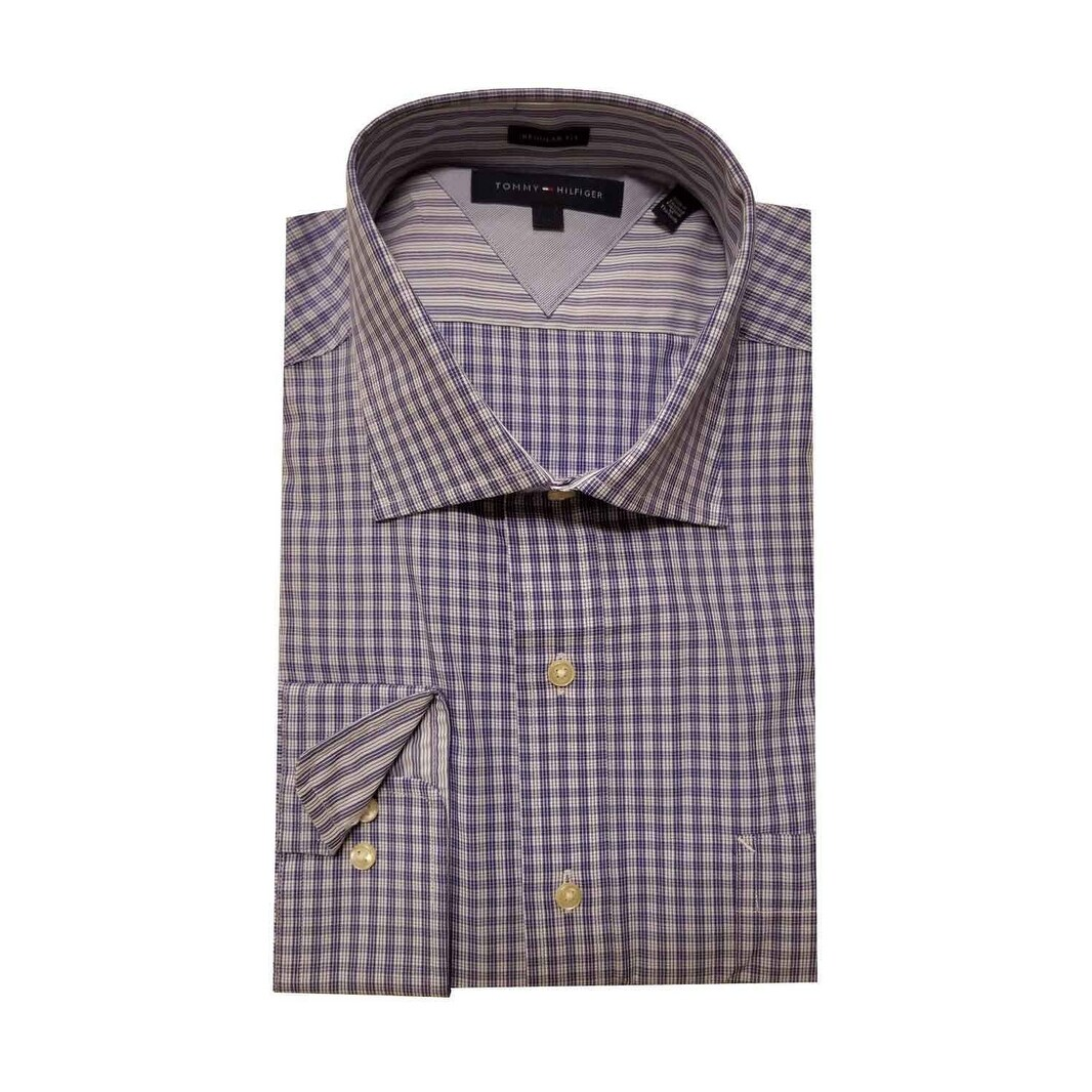 Shop Tommy Hilfiger Mens Long Sleeve Regular Fit Dress Shirt Free