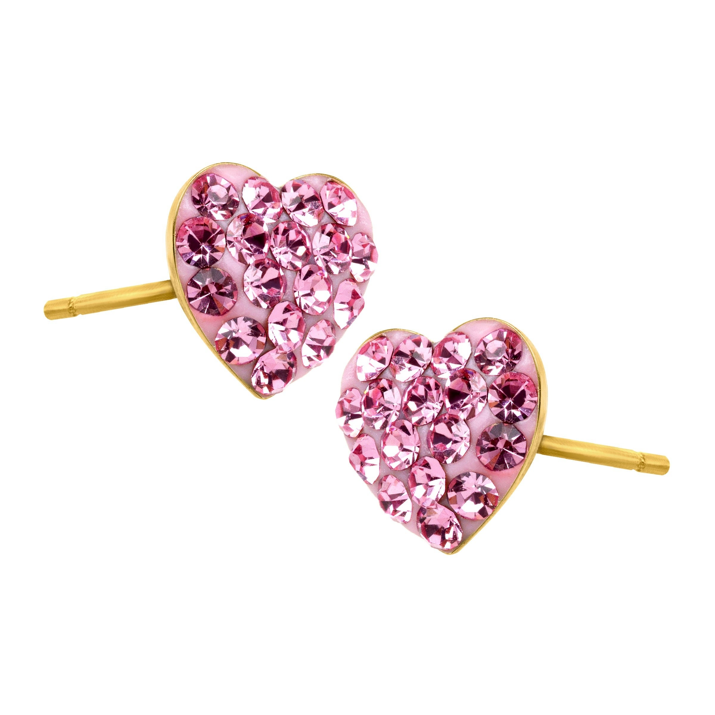 7f4529b0f Shop Girl's Heart Stud Earrings with Pink Crystals in 14K Gold - On Sale -  Free Shipping On Orders Over $45 - Overstock - 18538419