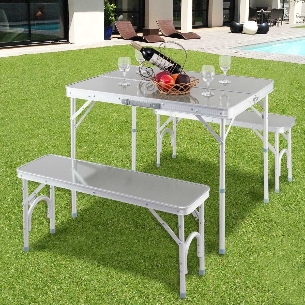 Costway Aluminum Portable Folding Picnic Table Camping Suitcase W Bench 4 Seat Outdoor On Free Shipping Today 18797914
