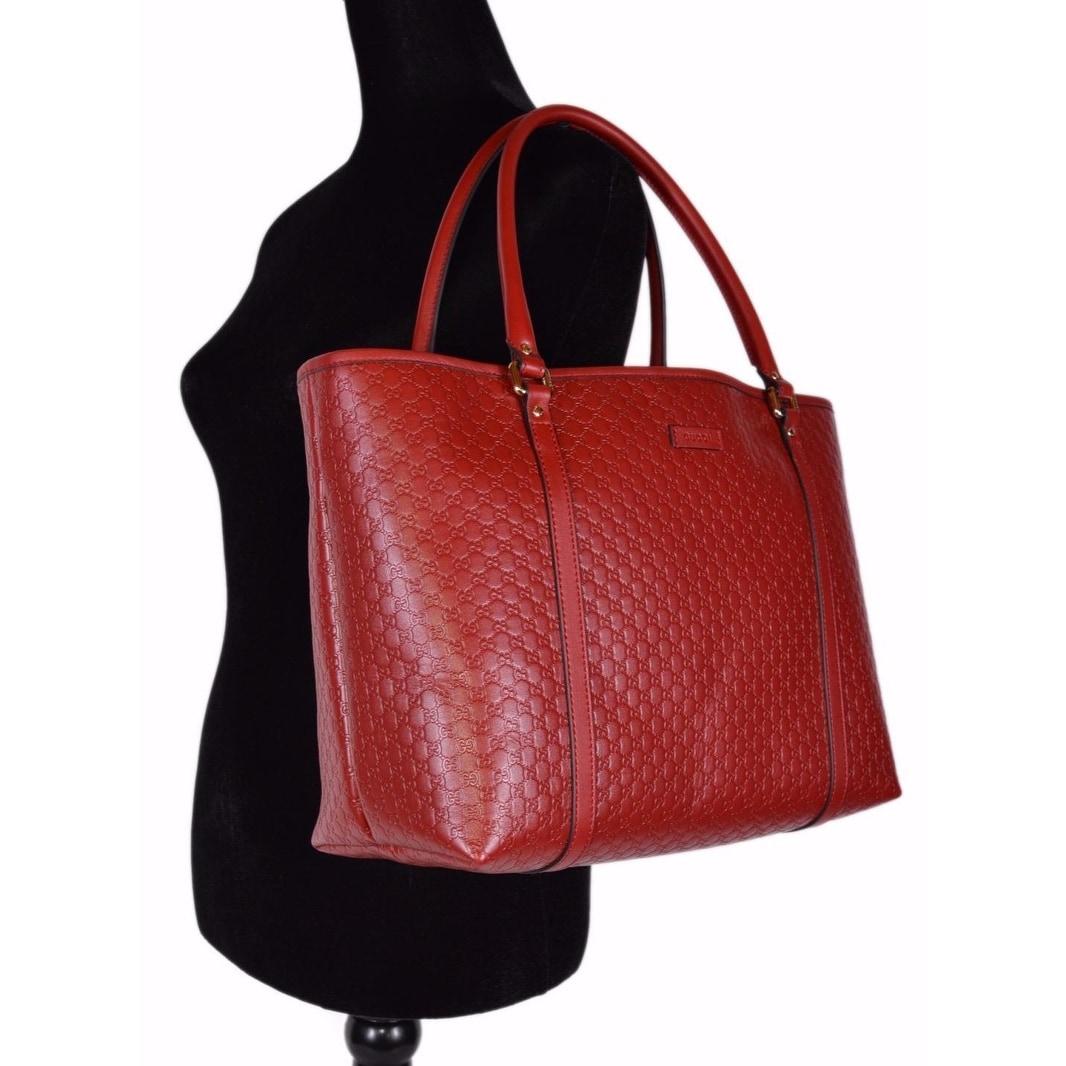 e8bb90943 Shop Gucci 449647 Red Leather Micro GG Guccissima Joy Purse Handbag Tote -  16