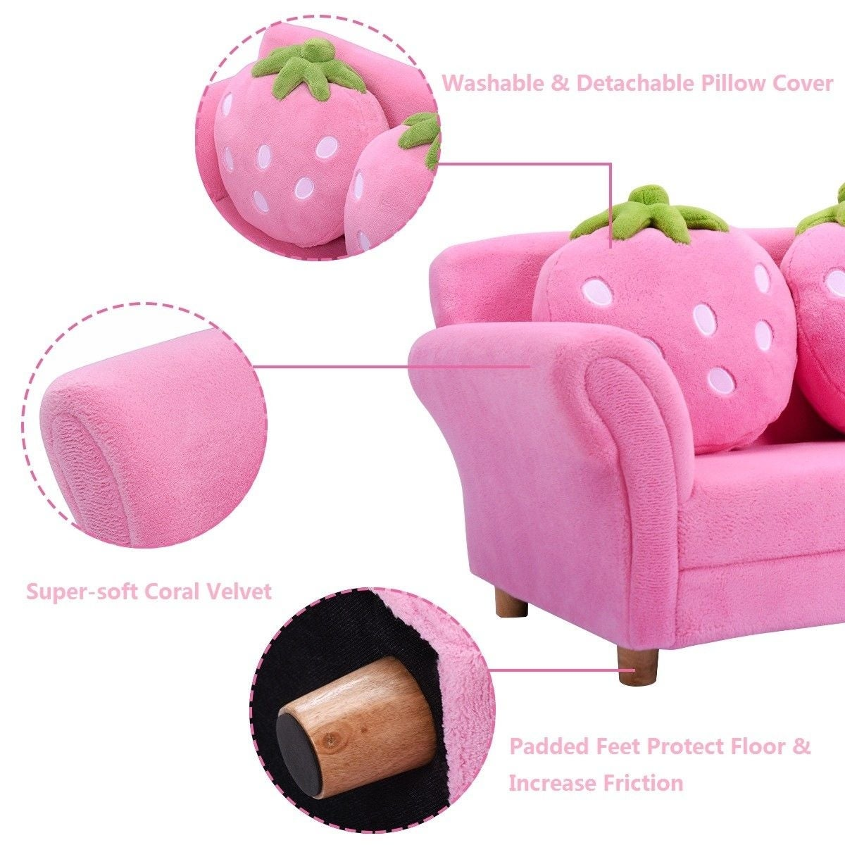 Costway Kids Sofa Strawberry Armrest Chair Lounge Couch W 2 Pillow Children Toddler Pink