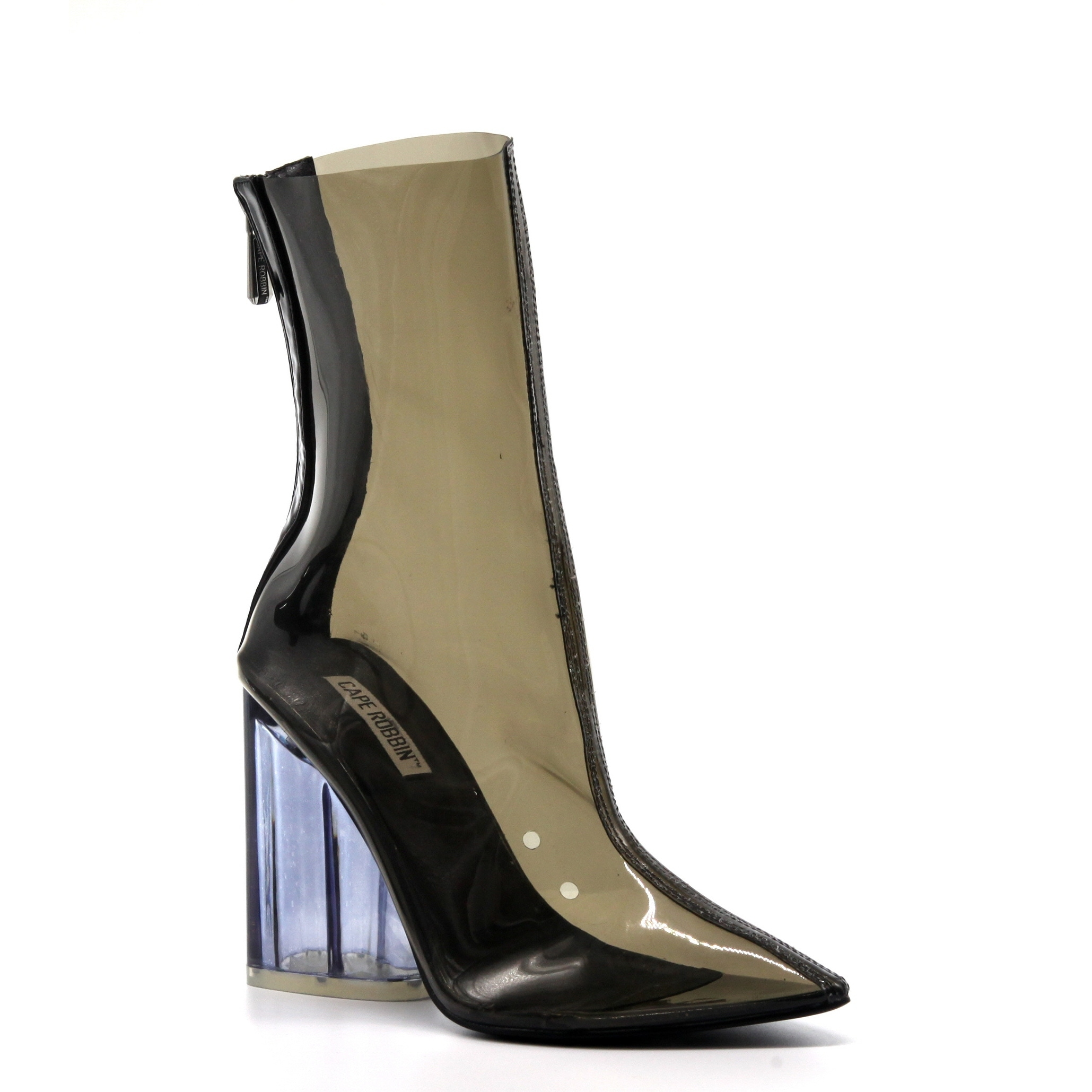 095534481bf Cape Robbin Crystal Glaze Womens Perspex Lucite Clear Pointy Toe Chunky  Heel Ankle Boots