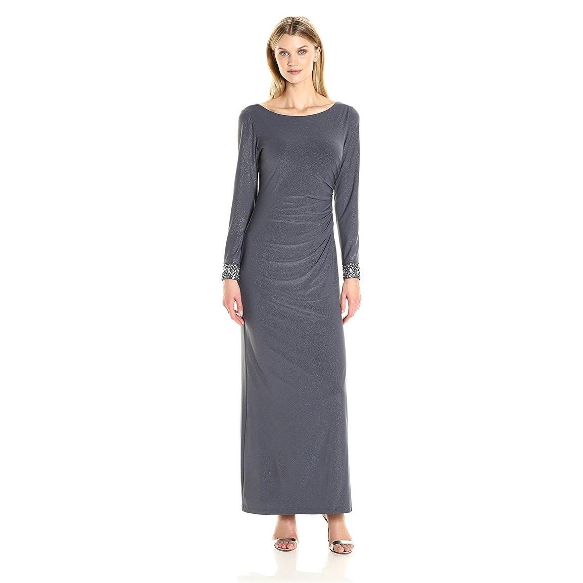 Shop Alex Evening Embellished Sparkle Long Sleeve Evening Gown Dress ...