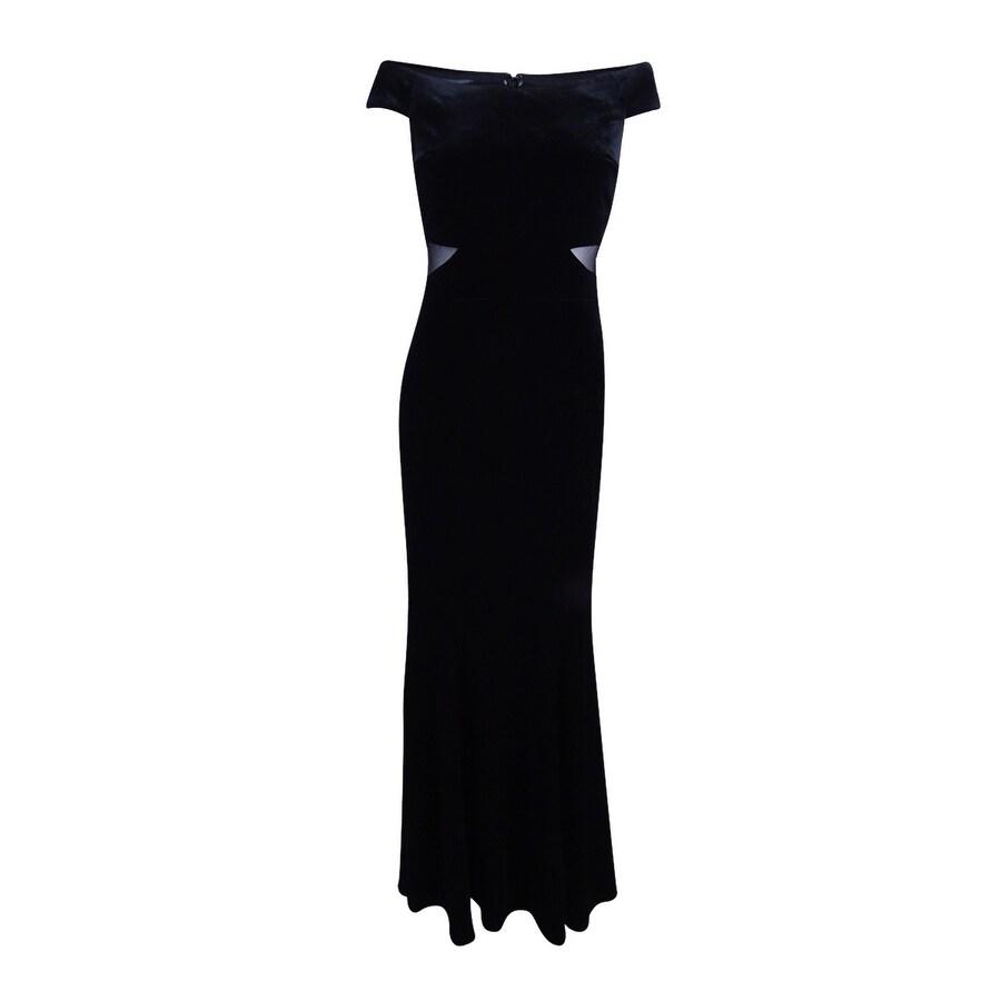 Xscape Women\'s Velvet Off Shoulder Evening Gown - Black - Free ...