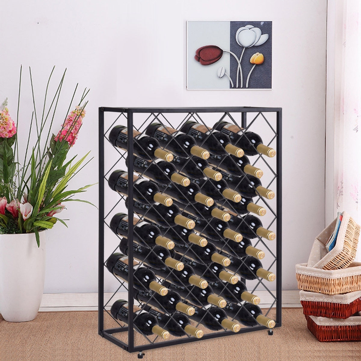 Shop Gymax 32 Bottle Wine Rack Metal Storage Display Liquor Cabinet