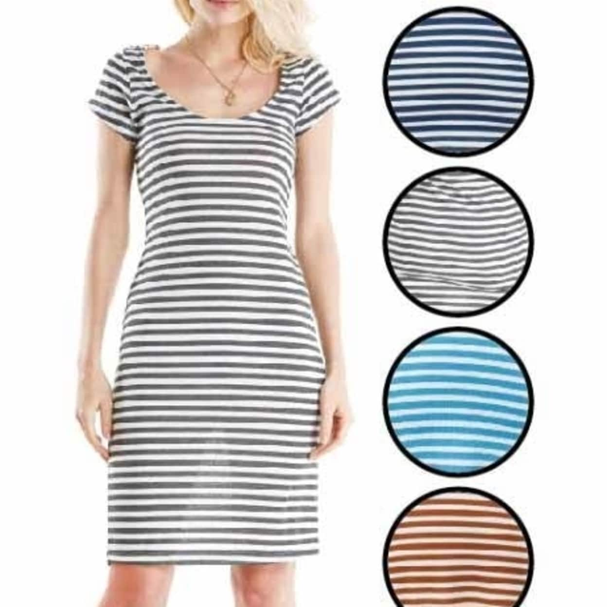 e279eb1c2 Shop DDI 2280700 Women's Short Sleeve Short Dresses - Striped Prints - Sizes  M-XL Case of 72 - Free Shipping Today - Overstock - 27875146