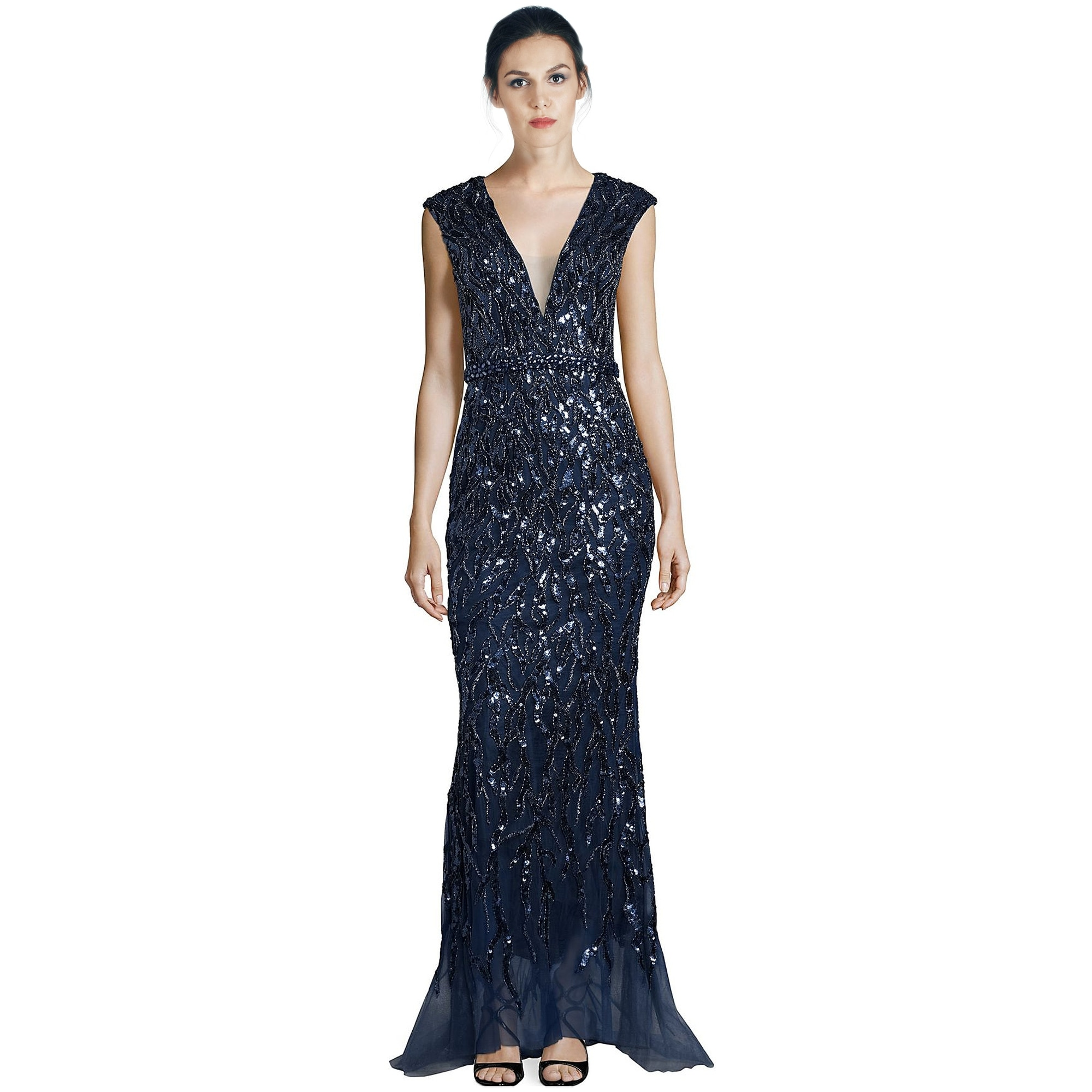 71adc975b1d Shop Jovani Sequined Tulle Cap Sleeve Evening Gown Dress Navy - 8 - Ships  To Canada - Overstock - 17864986