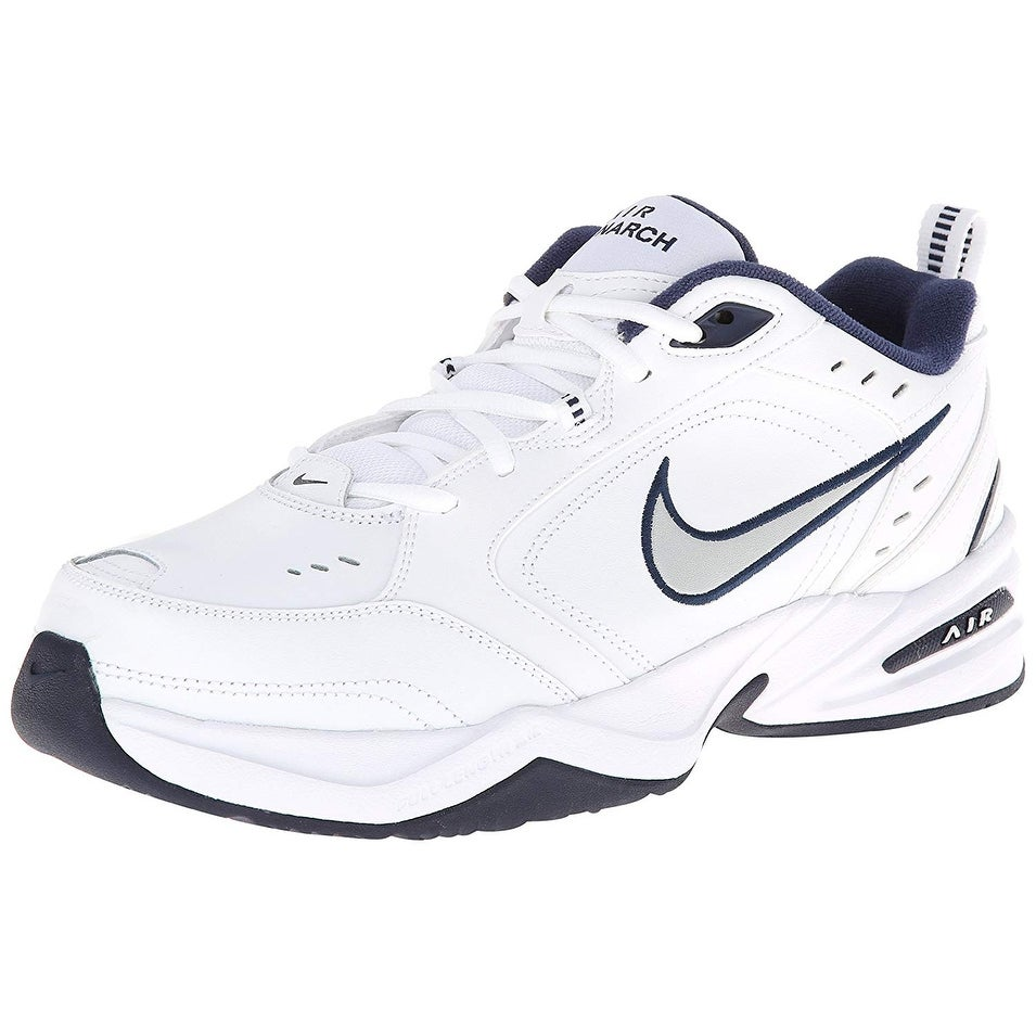best sneakers 50886 85f54 Shop Nike Mens Nike Air Monarch Iv (4E) Running Shoes White  Metallic  Silver-Midnight Navy Us 10.5 M - Free Shipping Today - Overstock - 25639820