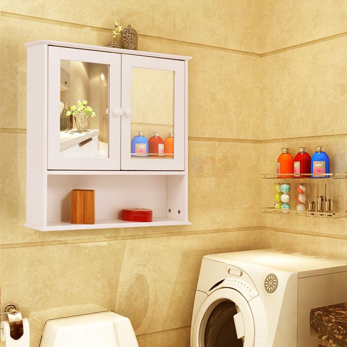 Costway New Bathroom Wall Cabinet Double Mirror Door Cupboard ...