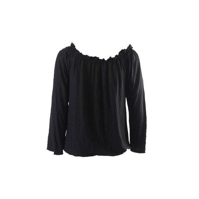 7cf982ae287109 Shop Inc International Concepts Deep Black Long-Sleeve Off-Shoulder Peasant  Top S - Free Shipping On Orders Over $45 - Overstock - 24180803